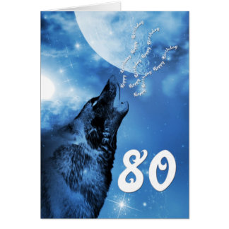 Ghost wolf  80th birthday card