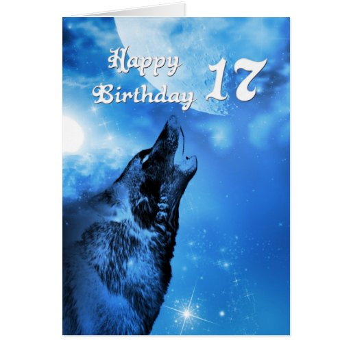 Ghost wolf howling 17th birthday card