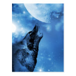 Ghost wolf howling at the moon post cards