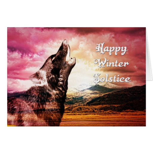 Ghost wolf howling wintr solstice card
