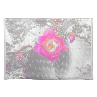 Ghosted pink cactus flower placemat