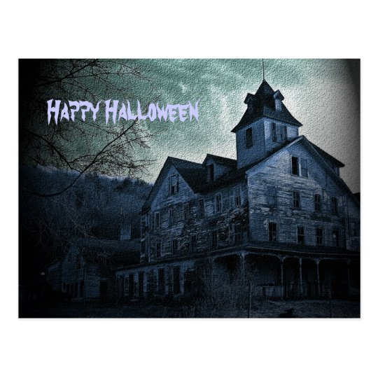 Ghostly Estate Halloween Postcard