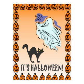 Ghostly halloween postcard