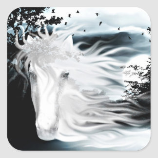 Ghostly horse square sticker