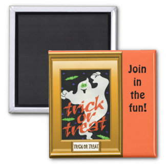 Ghostly Trick or treat Square Magnet