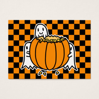 Ghosts and Pumpkin Halloween card