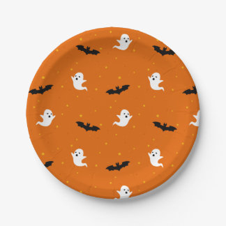 Ghosts & Bats Halloween Paper Plate