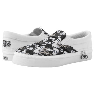 Ghosts Halloween Pattern Slip-On Shoes