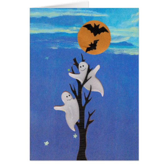 Ghosts in a Tree Halloween Card
