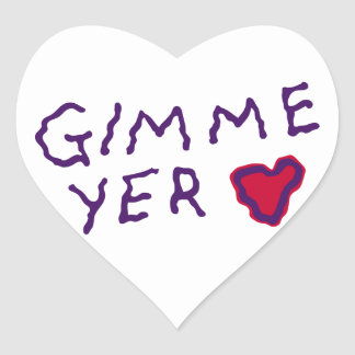 Ghoulie Gimme yer heart Heart Stickers