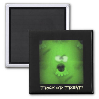 Ghoulie Trick or Treat Green Monster Square Magnet
