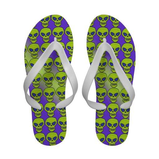 Ghoulish Green Alien Skull Flip-Flops