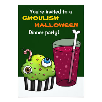 Ghoulish Halloween Dinner party Card