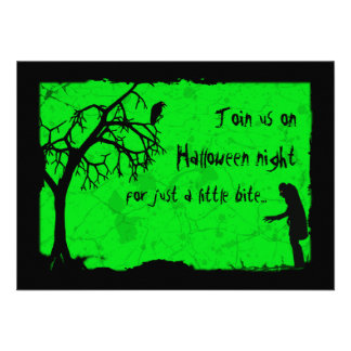Ghoulish Vampire Halloween Party Custom Announcement