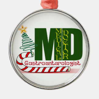 GI GASTROENTEROLOGIST MERRY CHRISTMAS Silver-Colored ROUND DECORATION