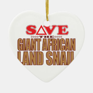 Giant African Land Snail Save Ceramic Heart Decoration