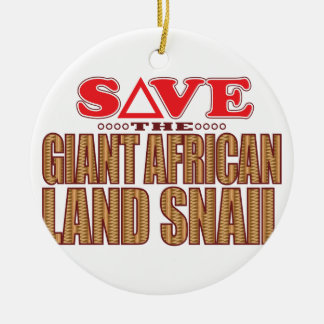 Giant African Land Snail Save Round Ceramic Decoration