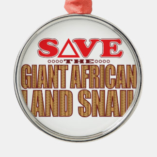 Giant African Land Snail Save Silver-Colored Round Decoration
