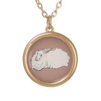 Giant Angora Rabbit Gold Plated Necklace