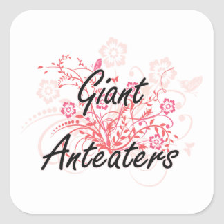 Giant Anteaters with flowers background Square Sticker