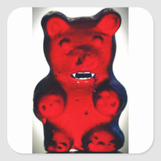 Giant Blood Sucking Candy Bear Square Sticker