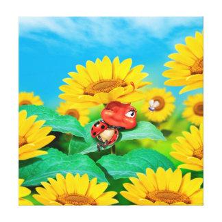 Giant canvas print sleepy Ladybug with sunflowers