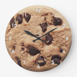 Giant chocolate chip cookie clock with numbers