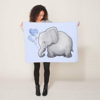 Giant Cute Baby Elephant with Balloons Nursery Fleece Blanket