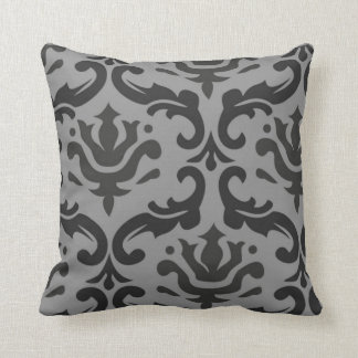 Giant Damask Gray and Black Pillow