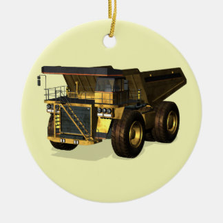 Giant Dump Truck Round Ceramic Decoration
