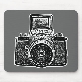 Giant East German Camera - Black, White and Gray Mouse Pad