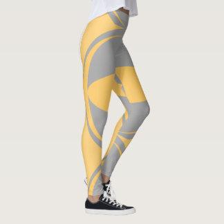 giant eye mustard yellow grey bold leggings