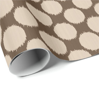 Giant Ikat Dots, beige and dark taupe tan Wrapping Paper
