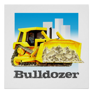 Giant Kid's Construction Trucks - Yellow Bulldozer Poster