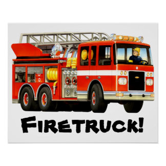 Giant Kid's Red Fire Truck Poster