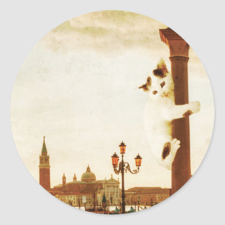 Giant Kitten in Venice Round Sticker