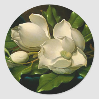 Giant Magnolias on a Blue Velvet Cloth Stickers