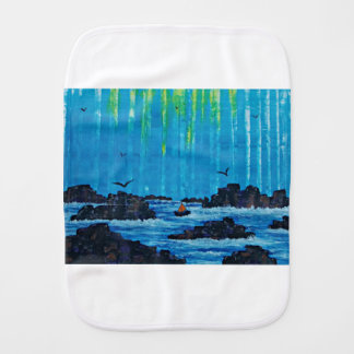 Giant misty forest by river baby burp cloth