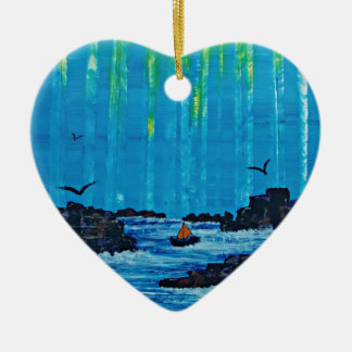 Giant misty forest by river ceramic heart decoration