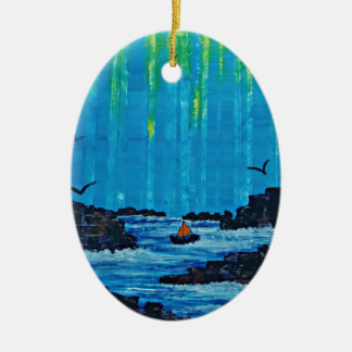 Giant misty forest by river ceramic oval decoration