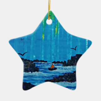 Giant misty forest by river ceramic star decoration