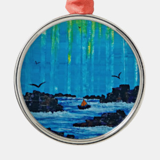 Giant misty forest by river christmas ornament