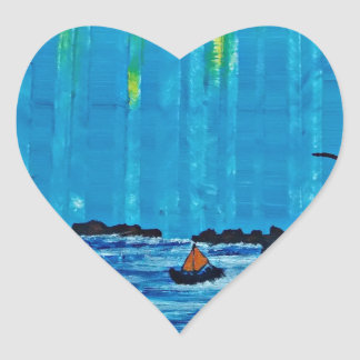 Giant misty forest by river heart sticker