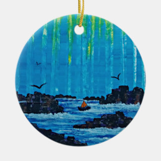 Giant misty forest by river round ceramic decoration