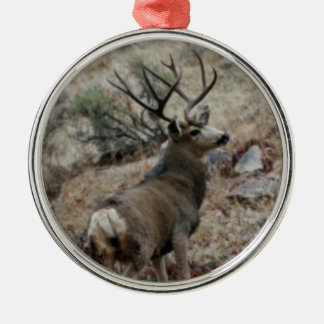 Giant mule deer buck Silver-Colored round decoration