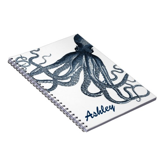 Giant Navy Blue Octopus Steampunk Personalised Spiral Notebook