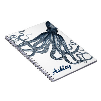 Giant Navy Blue Octopus Steampunk Personalized Spiral Note Book