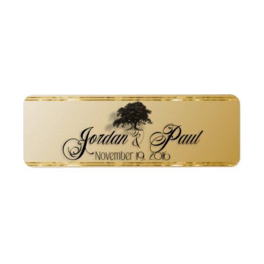 Giant Oak Tree on Gold Cigar Band Return Address Label