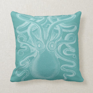 Giant Octopus, Dusty Teal & White Throw Pillow Cushions