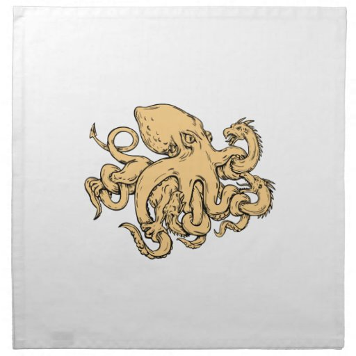 Giant Octopus Fighting Hydra Drawing Napkin